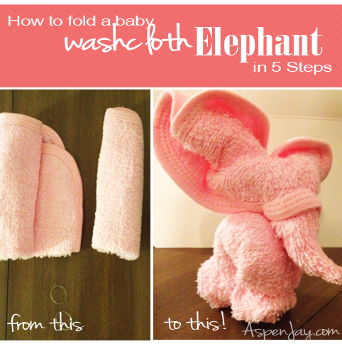 How to make a baby wash cloth elephant in just 5 easy steps. These are so adorable and tiny! @aspenjay.com