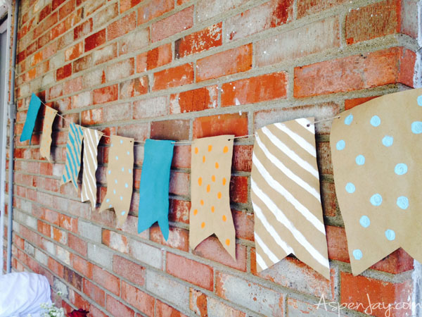 Backyard BBQ Party banner- DIY made out of brown packing paper and paint