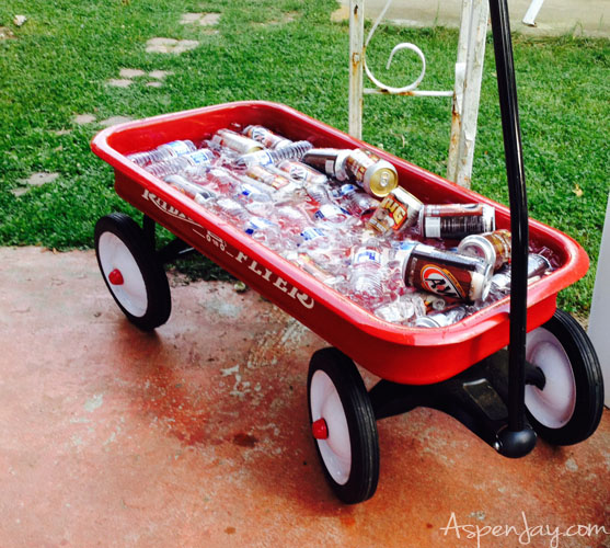 Backyard BBQ Party- serve the drinks in a red wagon- genius!