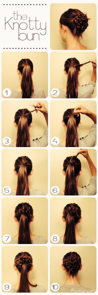 knotty-bun hair tutorial