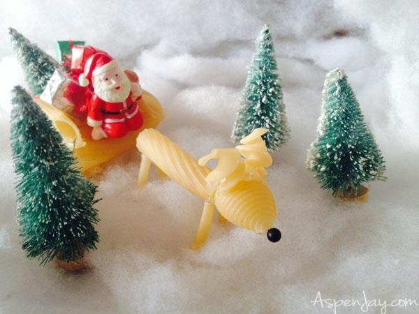 noodle reindeer kid craft with santa- Christmas ornament