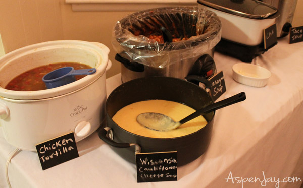 Soup Party with chalkboard labels- love this!