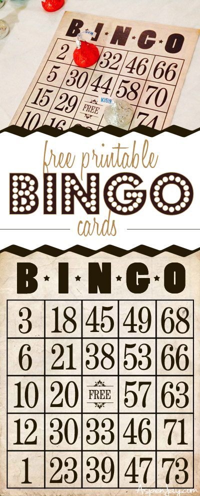 FREE printable vintage bingo cards. I LOVE IT!