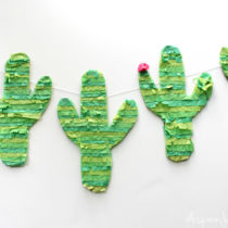 Super cute DIY Cactus Pinata Banner. And I already have everything on hand!!!