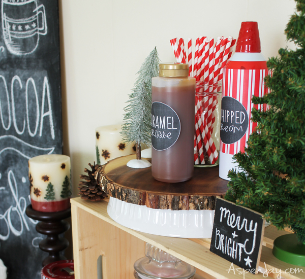 Love the printable chalk labels. Rustic Hot Chocolate Bar at a Caroling Party. So Fun! I need to plan one next year!