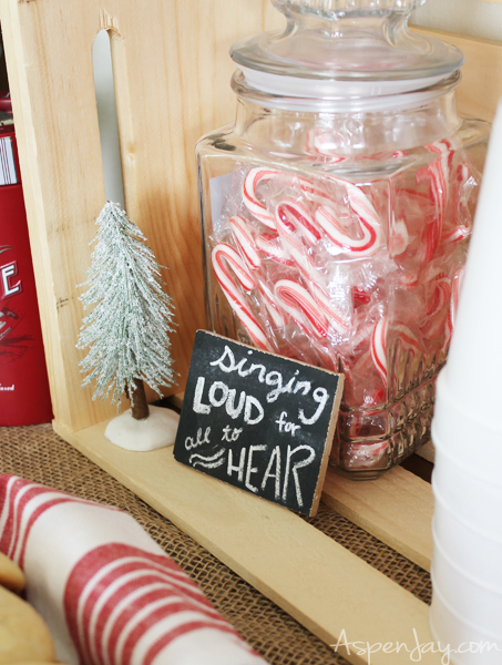 Festive sayings throughout-LOVE this!Rustic Hot Chocolate Bar at a Caroling Party. So Fun! I need to plan one next year!