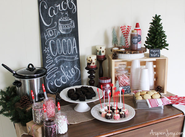 Rustic Hot Chocolate Bar at a Caroling Party. So Fun! I need to plan one next year!