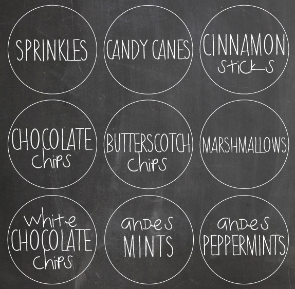 free hot chocolate bar labels to download! Such a cute idea for the holiday season!