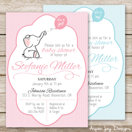 cute baby elephant invites