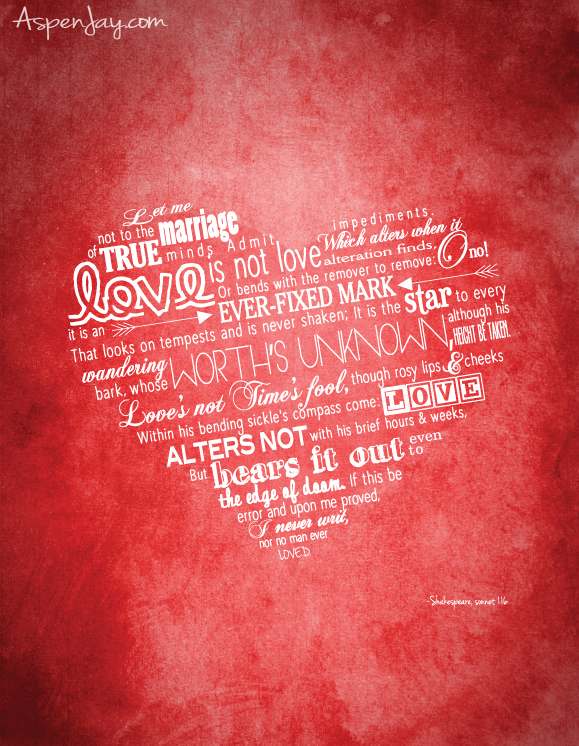 9cde34658264a1 Shakespeare Valentines Printable - Aspen Jay