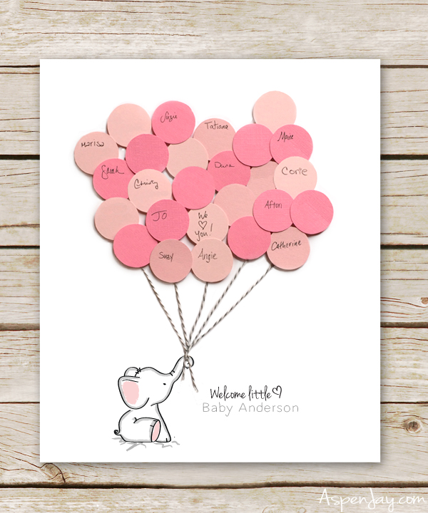 image about Free Printable Baby Registry Cards named Elephant Kid Shower Visitor Guide Printable - Aspen Jay