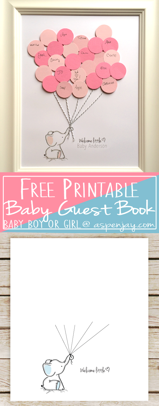 Free Elephant Baby Shower Guest Book Printable Blue Or Pink SUPER Cute And