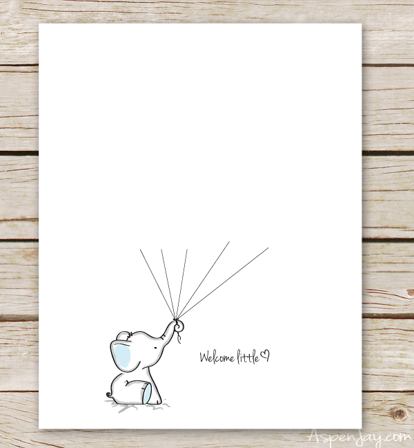 Elephant Baby Shower Guest Book Printable  Aspen Jay