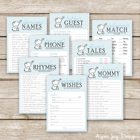 Super cute elephant baby shower games!