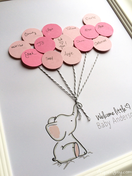free-pink-elephant-baby-shower-guest-book Signing Baby Shower Card