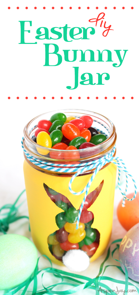DIY Easter Bunny Jar tutorial. Super cute and simple to make. Great use of old jars!