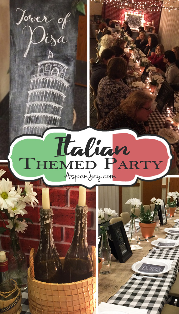 Fun and festive Italian Themed Dinner Party! LOVE the wine bottles and all the little touches! What a great idea for a party!