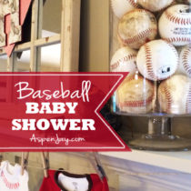 Super cute Baseball themed Baby Shower. Everything is just perfect! She even includes the adorable baseball printables for free download! Love this theme for a baby shower!