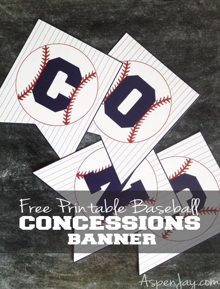 Free Printable Baseball Concessions Banner! Love this easy way to decorate for a baseball themed party and all you have to do is print and cut! This website even has MORE baseball related printables all for free!