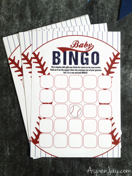 Super Cute Baseball Themed Baby Shower. LOVE These Baby Bingo Cards!