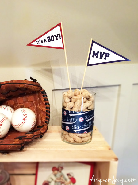 FREE printable Baseball Baby Pennant Flags. Such a great touch to a baseball themed baby shower. Definitely pinning for later. Click for more FREE baseball printables.