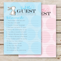 Adorable FREE baby shower FIND THE GUEST game. This is a perfect ice-breaker game. Love this cute little bunny!
