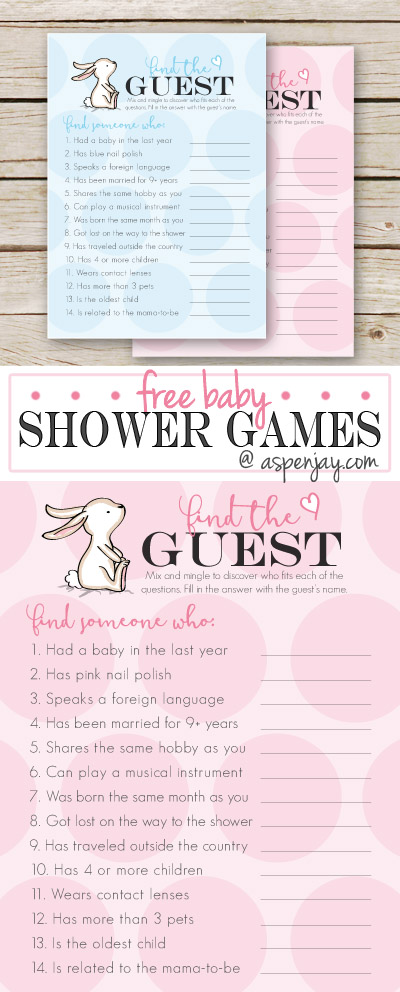 adorable FREE baby shower game! This is a great game to play to get guests to mingle and get to know one another better. Even old time friends might learn something new! Aspenjay has such cute ideas for baby showers! Definitely need to click on this site!