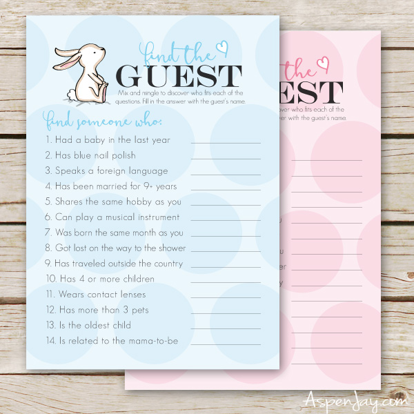 Free Baby Shower Game- Find the Guest - Aspen Jay