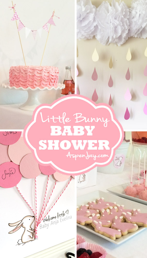 Adorable baby shower ideas! LOVE the bunny! She even gives away free printables!!! That FREE bunny guest book printable is SO cute! You definitely need to pin this one!
