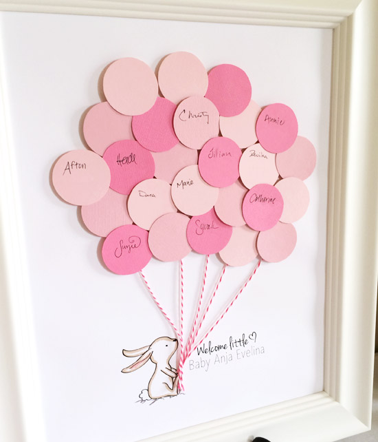 Adorable FREE bunny baby shower guest book printable! You can customize the name- this is SO precious! What a great idea to give the mama-to-be and have out at a baby shower! There are even more free printables to go along! Click on this site!