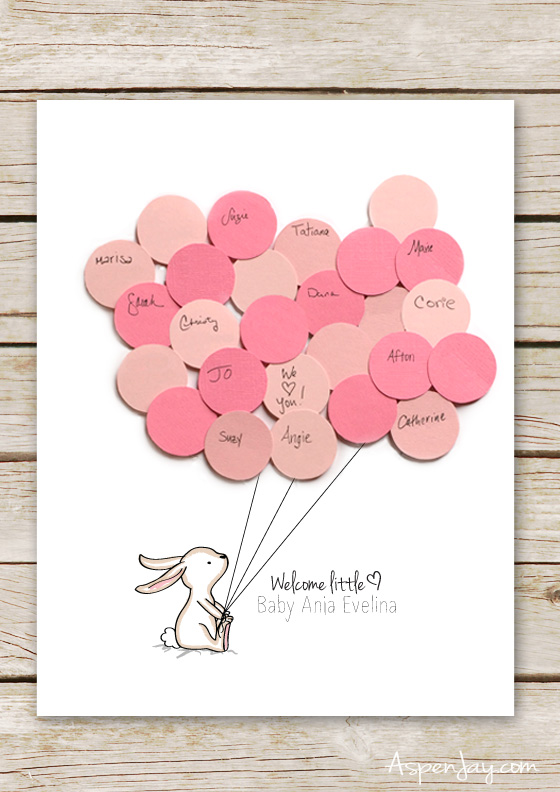 adorable free bunny baby shower guest book printable you can