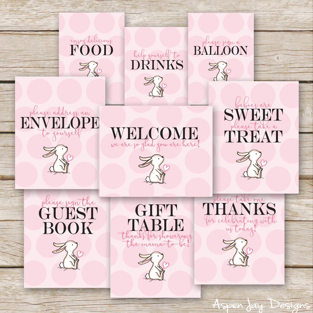 Bunny Baby Shower Guest Book Printable Aspen Jay