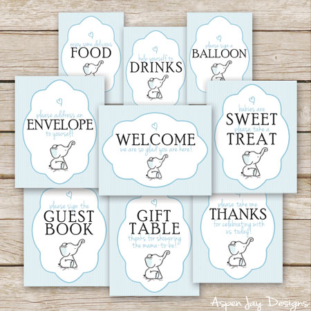 Adorable Elephant Baby Shower Signs