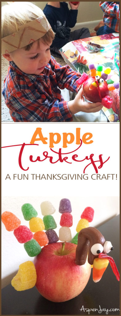 An Apple Turkey Craft! What a great idea for a Thanksgiving craft! I am going to have the kids makes these this year! Pinned!