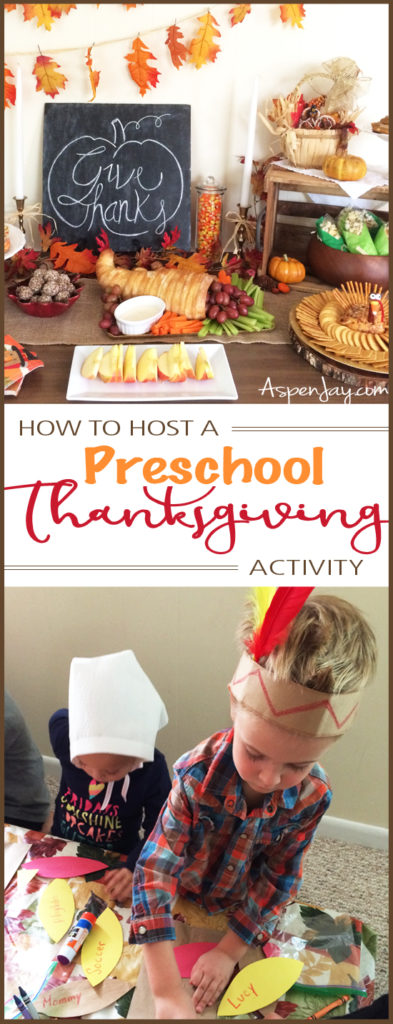 How to throw a Preschool Thanksgiving Activity. She outlines everything she did and provides free resources and tutorials. What a fun idea! I want to throw such an activity next year! Pinning for later!