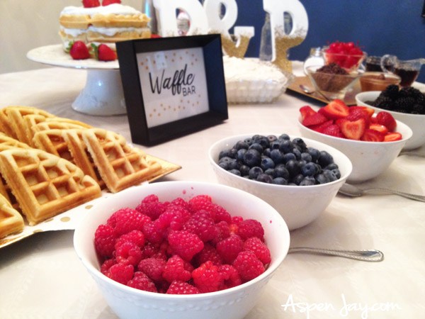 Bridal Shower Waffle Bar. What a cute idea for a bridal shower or a baby shower! Everyone would love this! Super cute ideas for the table layout. Definitely PIN this!