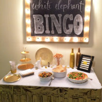 White Elephant Bingo! Such a fun activity for game night! Love the gold color scheme!