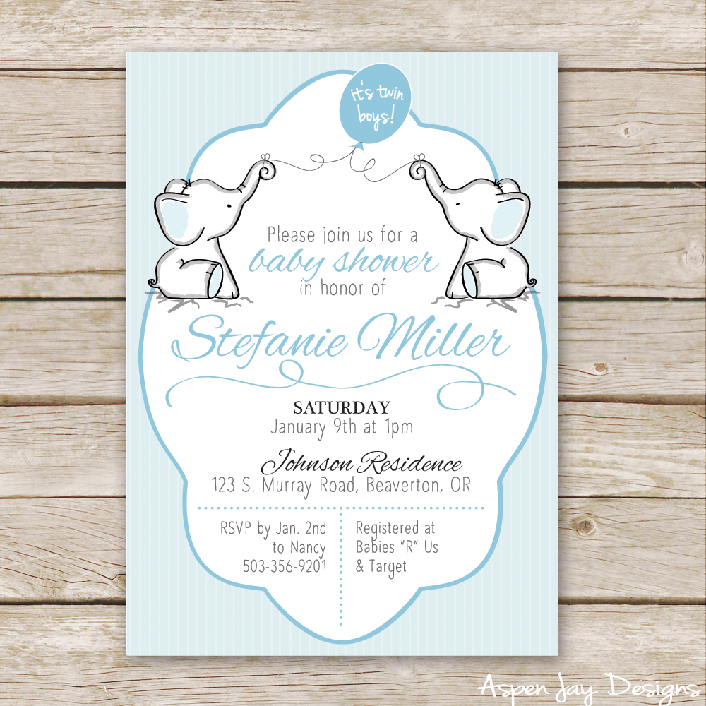 Twin Elephant Baby Shower Guest Book Printable Aspen Jay