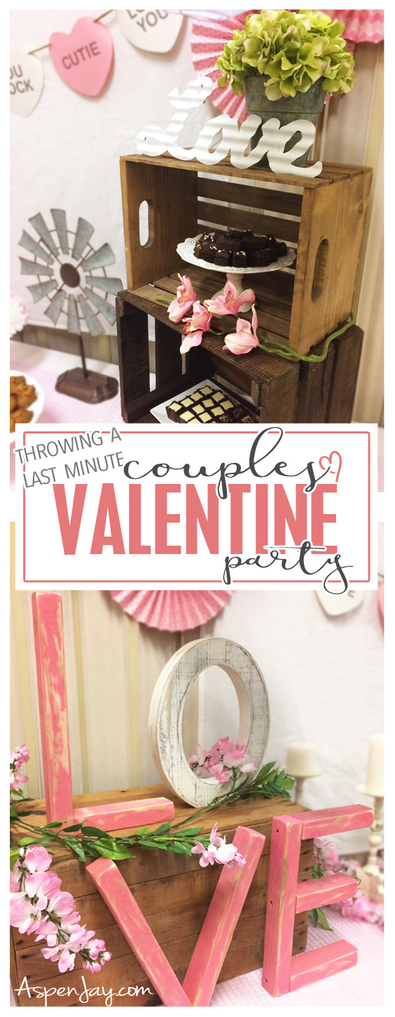 Great idea for throwing a Couples Valentine Party!!! This would be so much fun! Definitely need to plan one for next year. Love the photo booth (and the GIANT heart!!!) and the rustic valentine feel. Definitely need to PIN!