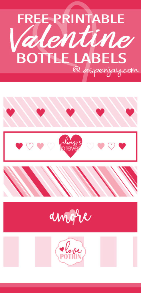 picture regarding Free Printable Water Bottle Labels named Cost-free Printable Valentine Bottle Labels - Aspen Jay