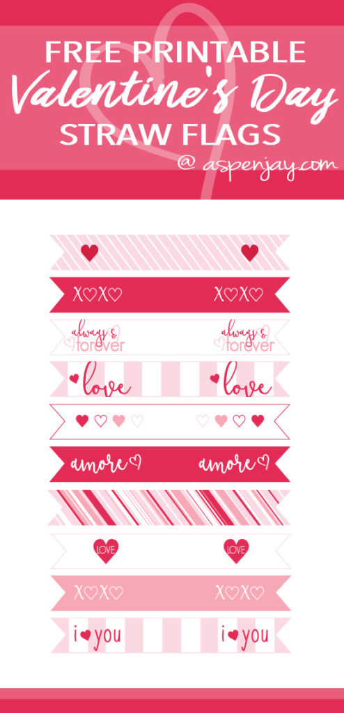 image relating to Printable Valentine Picture named Totally free Printable Valentines Straw Flags - Aspen Jay