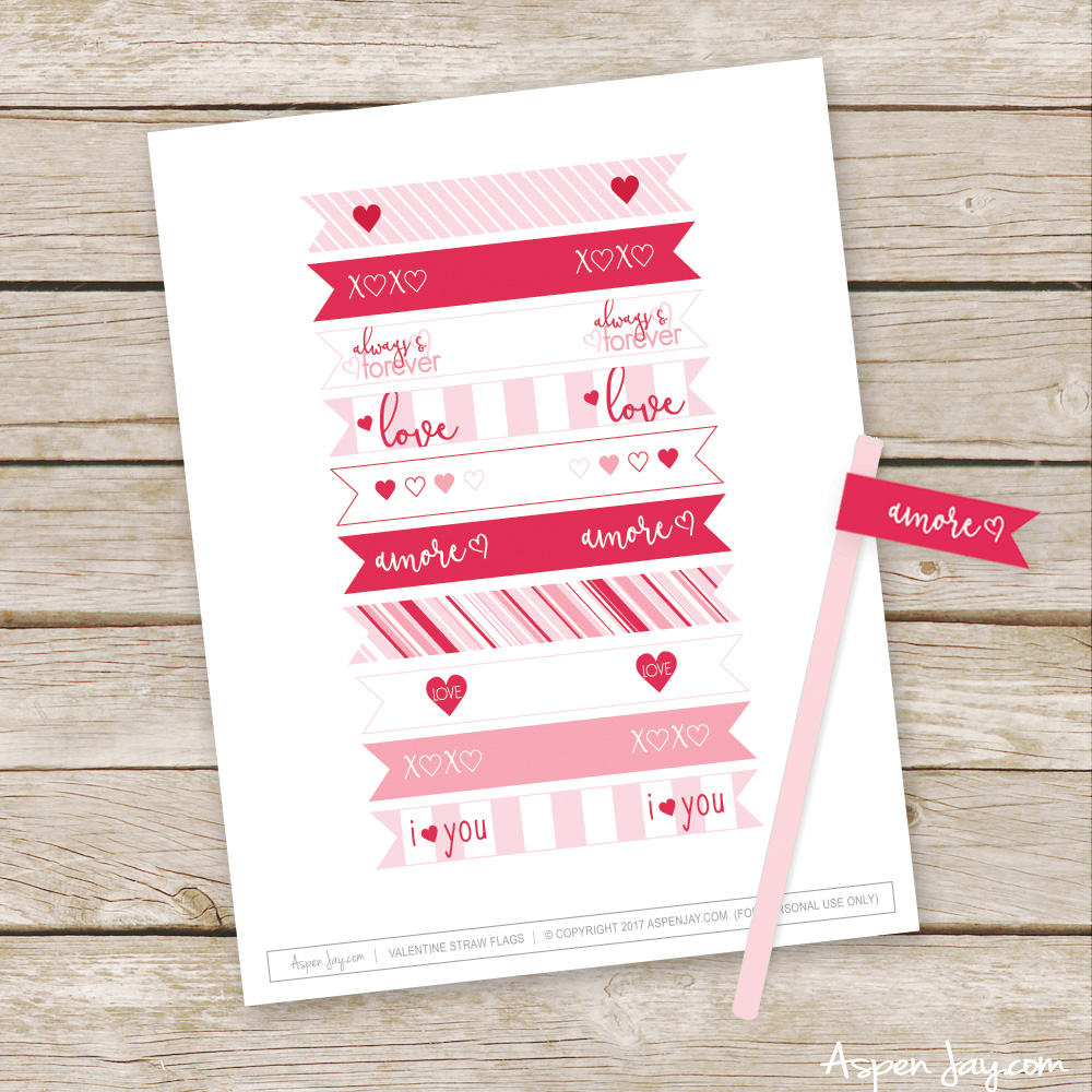 FREE Valentine's Straw Flags Printables! ❤️ So CUTE! Such a fun way to decorate a Valentine's Party food table!!!! YOU need to pin this!!!