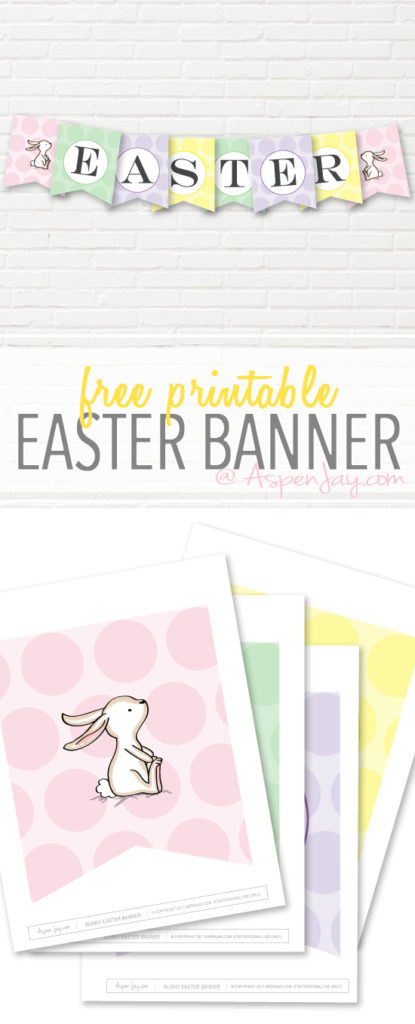 picture about Printable Easter Decorations called No cost Easter Banner Printable - Aspen Jay