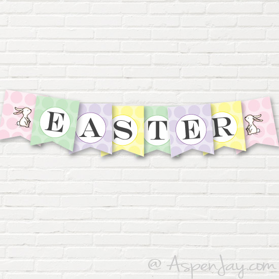 Free Easter Banner printable. Easy way to decorate for the Easter season and SUPER cute! Pinning!