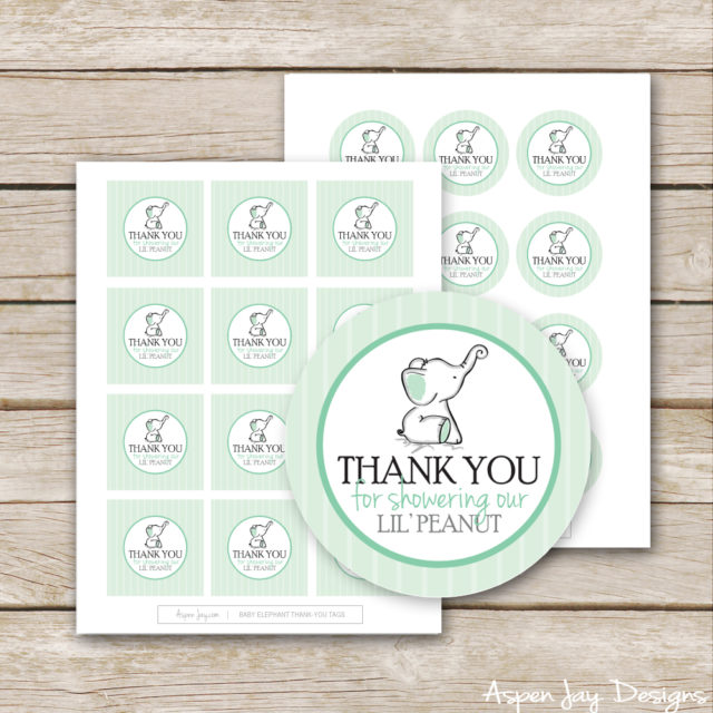 elephant thank you tags - super cute for a baby shower - elephant themed baby shower - little peanut