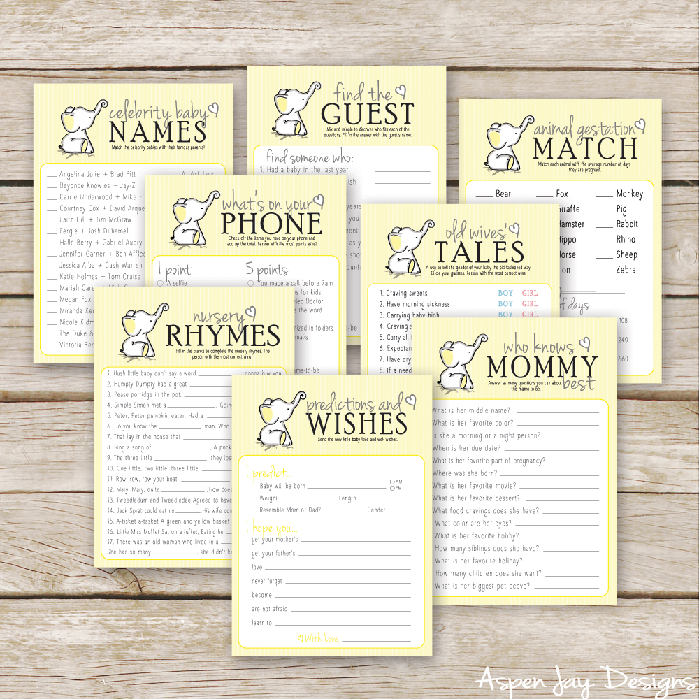 yellow elephant baby shower games
