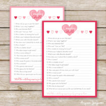 FREE printable Valentines Couples Game cards! Fun game that challenges how well couples think they know each other. Definitely PIN!