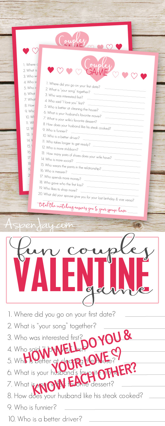picture about Free Printable Valentine Games for Adults identify Absolutely free Valentines Partners Sport Playing cards - Aspen Jay
