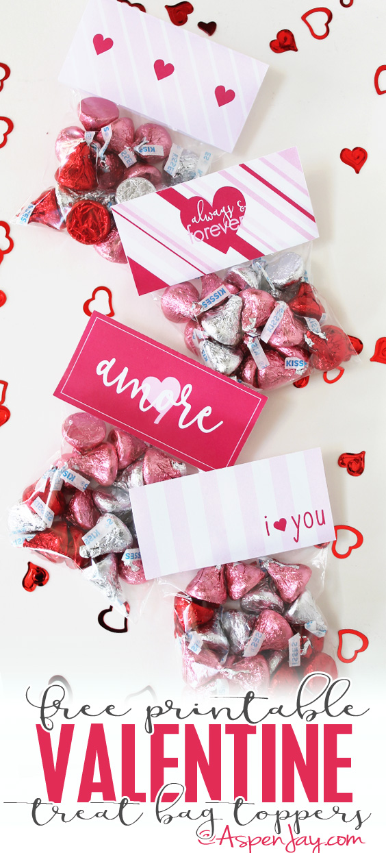 FREE printable Valentines Treat Bag Toppers.❤️ Super CUTE!!! With 4 design to choose from this is a perfect little gift for friends!