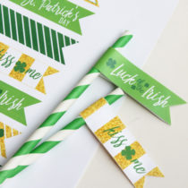 FREE printable St. Patrick's Day Straw Flags. These are SO adorable! Perfect touch to a St. Patrick's Day party! PINNED!